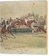 The Grand National Over The Water Wood Print by William Verner Longe