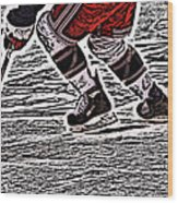 The Hockey Player Wood Print by Karol Livote