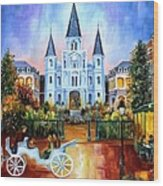 The Hours On Jackson Square Wood Print by Diane Millsap