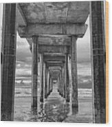 The Iconic Scripps Pier Wood Print by Larry Marshall