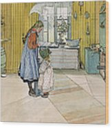 The Kitchen From A Home Series Wood Print by Carl Larsson