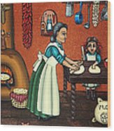 The Lesson Or Making Tortillas Wood Print by Victoria De Almeida