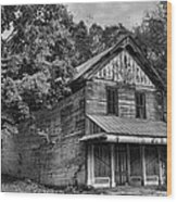 The Local Haunted House Wood Print by Heather Applegate