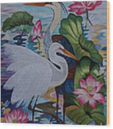 The Lotus Pond Hand Embroidery Wood Print by To-Tam Gerwe