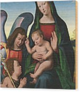 The Madonna And Child With The Young Saint John The Baptist And An Angel  Wood Print by Giuliano Buigardini and Mariotto Albertinelli