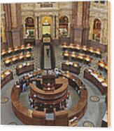 The Main Reading Room Of The Library Of Congress Wood Print by Allen Beatty