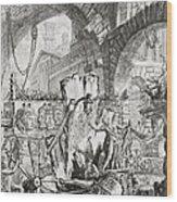 The Man On The Rack Plate II From Carceri D'invenzione Wood Print by Giovanni Battista Piranesi