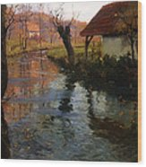 The Mill Stream Wood Print by Fritz Thaulow