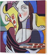 The Mona Pizza Wood Print by Anthony Falbo