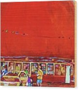 The Orange Julep Montreal Summer City Scene Wood Print by Carole Spandau