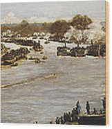 The Oxford And Cambridge Boat Race Wood Print by James Macbeth