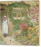 The Puppy Wood Print by Arthur Claude Strachan