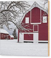 The Red Barn Wood Print by Fran Riley
