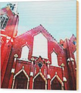 The Red Church By Sharon Cummings Wood Print by Sharon Cummings
