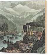 The Route To California Wood Print by Currier and Ives