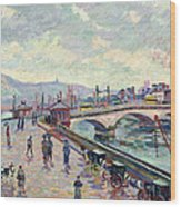 The Seine At Rouen Wood Print by Jean Baptiste Armand Guillaumin