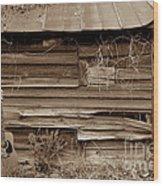 The Sepia Guitar Wood Print by Skip Willits