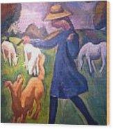 The Shepherdess Wood Print by Roger de La Fresnaye
