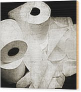 The Spare Rolls 2 - Toilet Paper - Bathroom Design - Restroom - Powder Room Wood Print by Andee Design