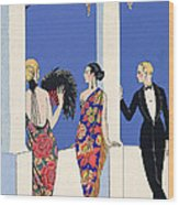 The Taste Of Shawls Wood Print by Georges Barbier