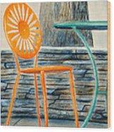 The Terrace Chair Wood Print by Thomas Kuchenbecker
