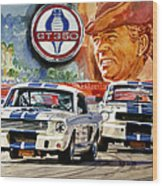 The Thundering Blue Stripe Gt-350 Wood Print by David Lloyd Glover