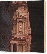 The Treasury Seen From The Siq Petra Jordan Wood Print by Robert Preston