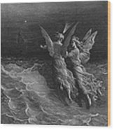The Two Fellow Spirits Of The Spirit Of The South Pole Ask The Question Why The Ship Travels  Wood Print by Gustave Dore