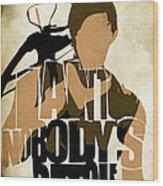 The Walking Dead Inspired Daryl Dixon Typographic Artwork Wood Print by Ayse Deniz