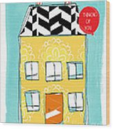 Thinking Of You Card Wood Print by Linda Woods