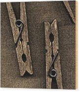 Three Clothes Pins Wood Print by Bob RL Evans