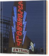 Thunderbolt Rollercoaster Neon Sign Wood Print by Edward Fielding