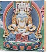 Tibetan Buddhist Temple Deity Sculpture Wood Print by Tim Gainey