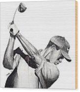 Tiger Backswing Wood Print by Devin Millington