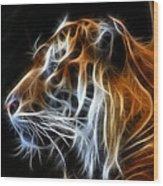 Tiger Fractal Wood Print by Shane Bechler
