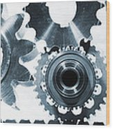 Titanium Aerospace Parts In Blue Wood Print by Christian Lagereek