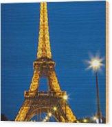 Tour Eiffel De Nuit Wood Print by Inge Johnsson