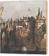 Town With A Broken Bridge Wood Print by Victor Hugo