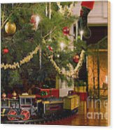 Toy Train Under The Christmas Tree Wood Print by Diane Diederich