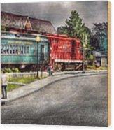 Train - Engine - Black River Western Wood Print by Mike Savad
