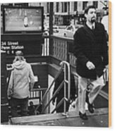 Travellers Exiting And Entering 34th Street Entrance To Penn Station Subway New York City Wood Print by Joe Fox