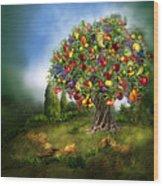 Tree Of Abundance Wood Print by Carol Cavalaris