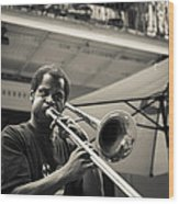 Trombone In New Orleans Wood Print by David Morefield