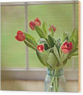 Tulips In Mason Jar Wood Print by Kay Pickens