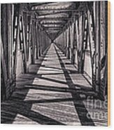 Tulsa Pedestrian Bridge In Black And White Wood Print by Tamyra Ayles