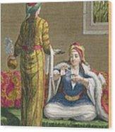 Turkish Girl, Having Coffee Wood Print by Jean-Baptiste Haussard