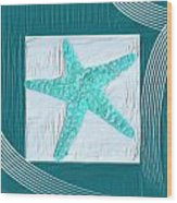 Turquoise Seashells Xvi Wood Print by Lourry Legarde