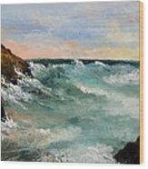 Twilight Surf Wood Print by Larry Martin