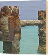 Twin Rusted Dock Piers Of The Caribbean Wood Print by David Letts