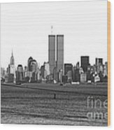 Twin Towers From Staten Island Wood Print by John Rizzuto